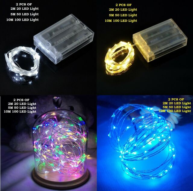 free shipping 59dbe fb7ec 20//50/100 LED String Fairy Lights Copper Wire Battery Powered Waterproof