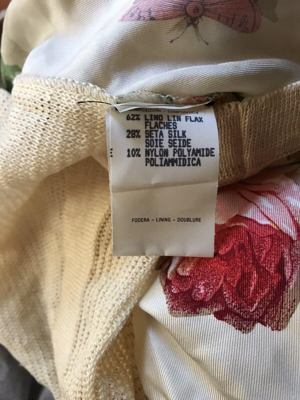 Rare Vtg Gucci 90s Ecru Floral Print Silk Linen B… - image 9