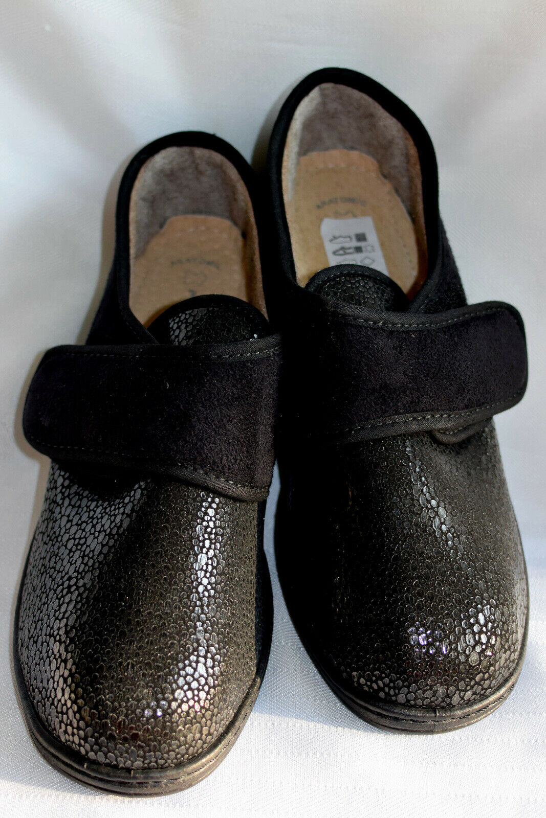 NWOB Black Janice Anatomic Flexus Spring Step Wedge Slipper Shoes-Italy Made-40