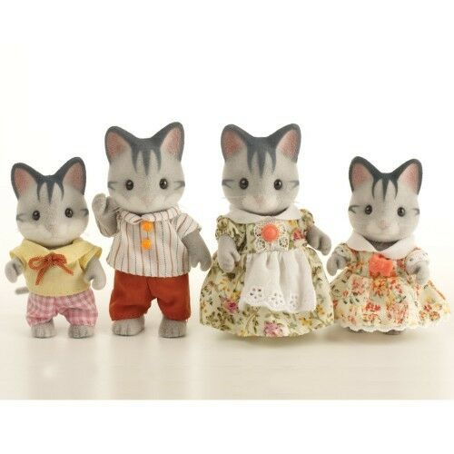 NEW SYLVANIAN FAMILIES 4795 Grey Cat Family Adults 8cm set of 4