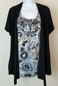 Perseption-Shawl-Blouse-Short-Sleeve-Black-Grey-Ruffled-Layered-Look-Top-Size-2X