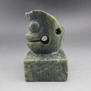 China, jade, handmade carving, natural jade, pig dragon, seal E20