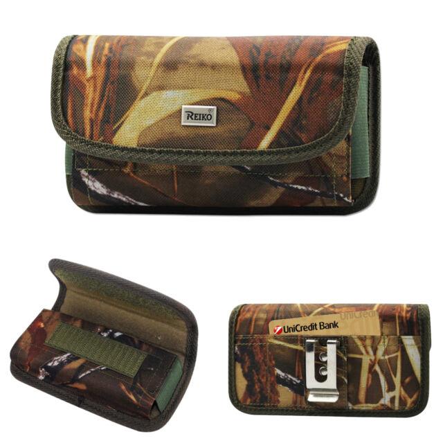 Reiko Camouflage Canvas Metal Belt Clip Case Card Pocket for Samsung Cell Phones