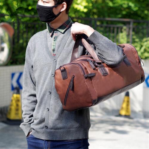 Men Large  Travel Gym Capacity Leather Bag Luggage Handbag Duffle Shoulder Tote