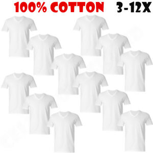 New-3-12-Pack-Mens-100-Cotton-Tagless-V-Neck-T-Shirt-Undershirt-Tee-White-S-XL