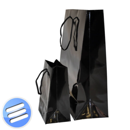 50 x BLACK ROPE HANDLE GLOSS PAPER ACCESSORY// WEDDING FAVOURS GIFT BAG 11x15x7cm