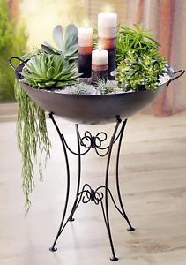 pflanzschale mit st nder deko schale pflanzen garten ornamente nostalgie neu ebay. Black Bedroom Furniture Sets. Home Design Ideas