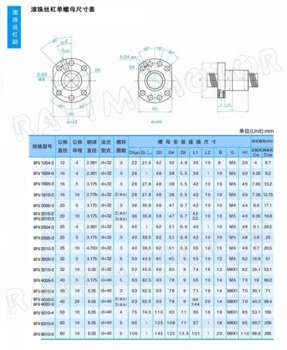 DE➞ SFU1605 Kugelumlaufspindel 300mm /& Spindelmuttergehäuse /& BK BF12 Festlager
