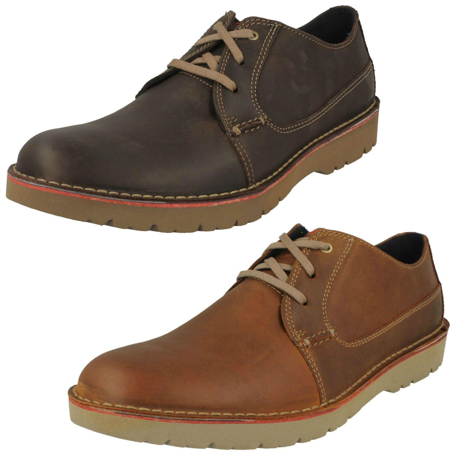 Uomo Clarks Vargo Plain Dark Braun Or Dark Tan Casual Leder Schuhes G fitting