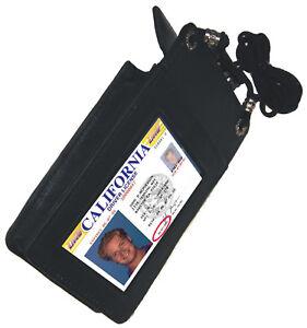 BLACK-Leather-ID-CARD-Holder-Work-Travel-Pouch-Neck-Badge-Strap-Utility-Pocket