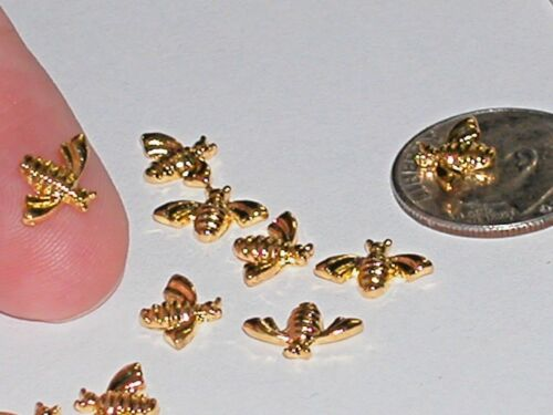 2pc Miniature dollhouse super tiny little Gold plated eye GLASSES charm 6mm