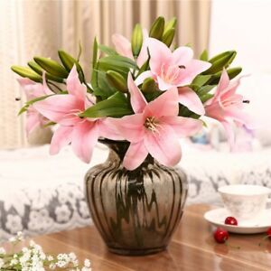 Image Is Loading Us Artificial Fake Lily Latex Flower Party Bouquet