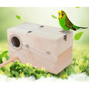 Wooden Budgie Nest Nesting Box & Perch For Cage Aviary With Opening Top