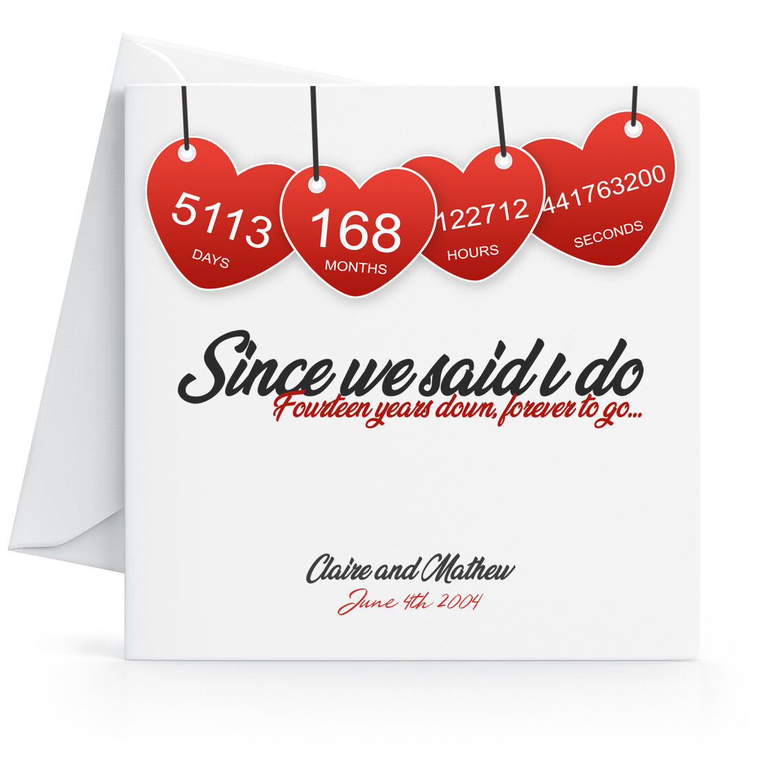 Details about Personalised 8th Wedding Anniversary Card with Printed  Hearts Fourteenth Year