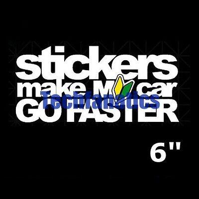 1 Piece Sticker Make My Car Go Faster w// Wakaba Leaf Badge JDM Decal Sticker