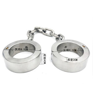 super-heavy-4cm-high-Ankle-cuffs-stainless-steel-chain-iron-metal-bondage