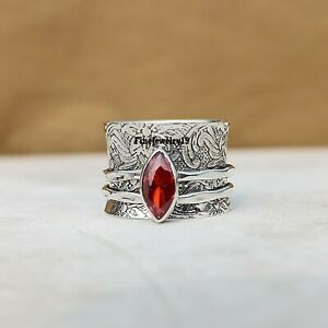 Garnet-Ring-925-Sterling-Silver-Spinner-Ring-Meditation-Statement-Jewelry-A332