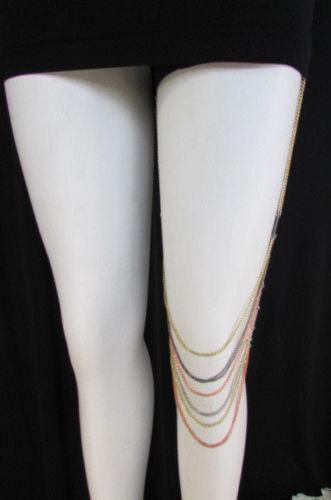 New Women Leg Thigh High Chain Metal Mesh Silver Rose Gold Pewter Fashion Body