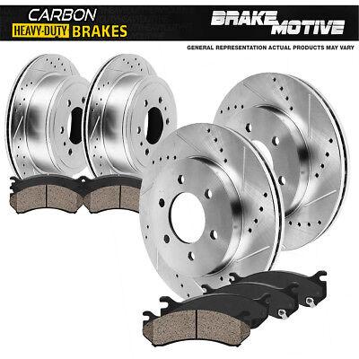 For: 6lug 2 Silver Drilled Brake Rotors +4 Ceramic Pads Tough-S Front Kit