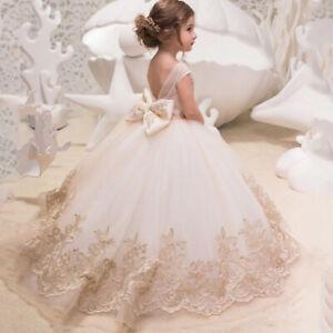 Formal Kids Flower Girls Dress Princess Bridesmaid Party Wedding Lace Dresses