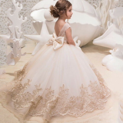 Formal Kids Champagne Lace Flower Girl Dress Princess Wedding Party Bridesmaid