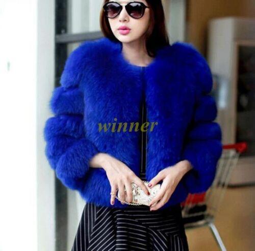 2017 Womens Winter Fox Fur Gilet Waistcoat Jacket Coat Short Vest Outwear Sz