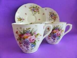 Pair-of-Royal-Doulton-Antique-Tea-Cup-and-Saucer-Sets-1920-039-s-Floral-Tea-Cups