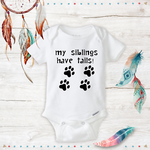 Unisex Baby Onesies My Sibling Have Tails Baby Shower Gift Newborn Infant Paw Choice Materials One-pieces Baby & Toddler Clothing