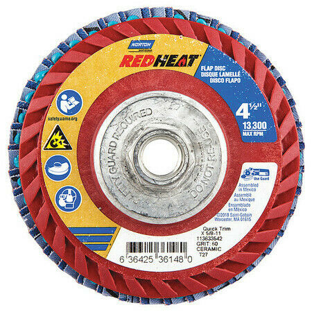 NORTON 63642536148 Flap Disc,4 1//2 In x 60 Grit,5//8-11