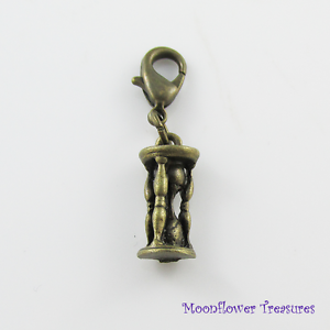 Vintage-Look-Antique-Bronze-3D-Hourglass-Charm-fit-Clip-on-Charm-Bracelet