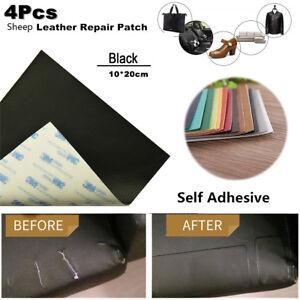 4X Sheep Leather Repair Patch+Vinyl Adhesive For Sofas Car Seats Handbags Jacket