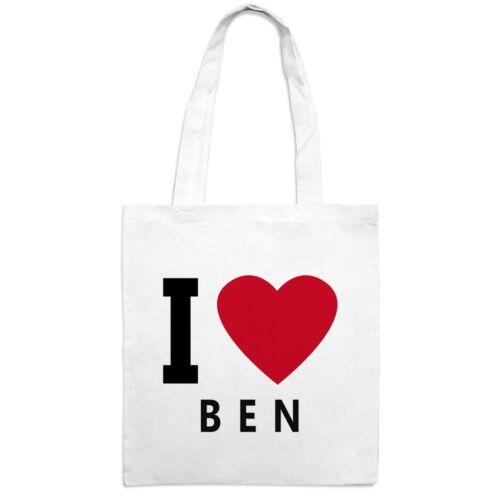 "Jutebeutel mit Namen Ben Motiv /""I Love/"""