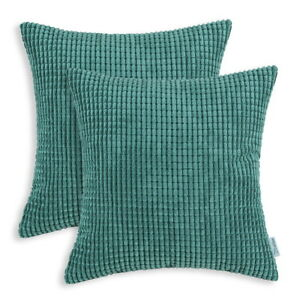 Pack-of-2-Cushion-Covers-Pillow-Cases-Soft-Corduroy-Corn-Striped-Decor-45x45