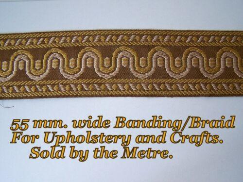 """Brown//gold//ivory braid//banding 2.1 // 4 /"""" Para Tapicería y Artesanía. 55 Mm. de ancho"""