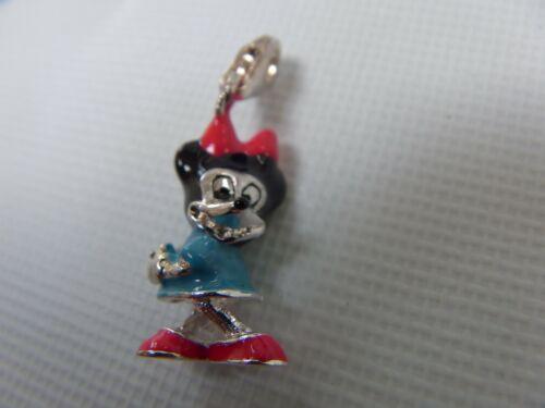 Sterling Silver 925 Minnie Mouse 3D Enamel Necklace Pendant Bracelet Charm