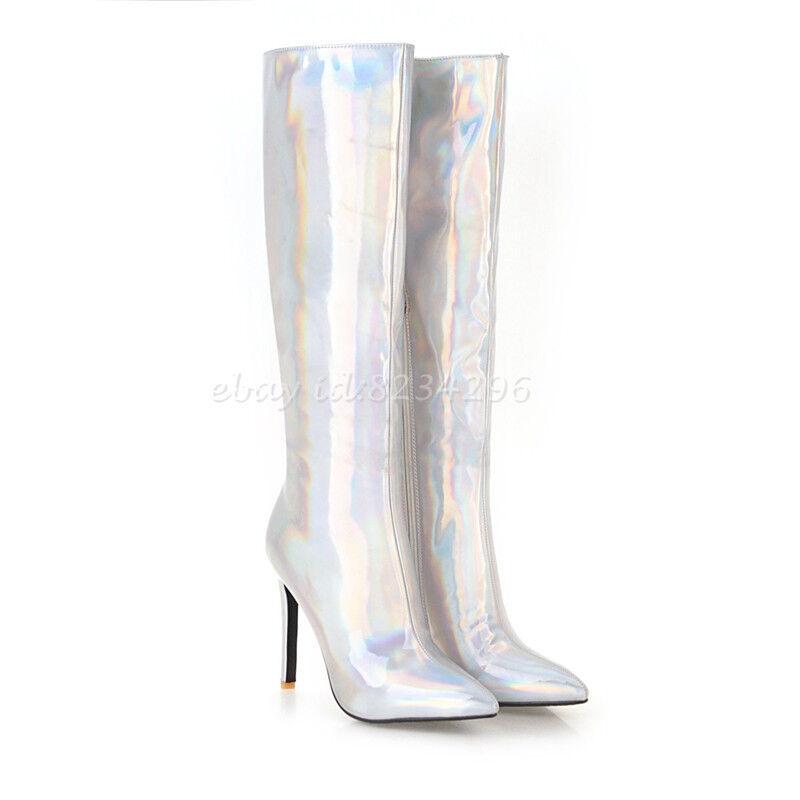 Lackleder Wadenhohe Schick Stiefel Damenschuhe Stilettoabsatz Schick Wadenhohe Boots Sexy Stiefel 67daf6