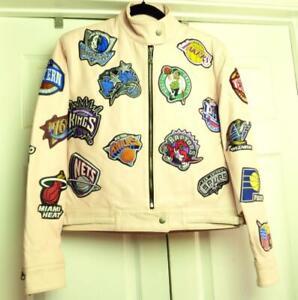 Jeff-Hamilton-NBA-Teams-Patch-Logo-Vintage-Jacket-Ladies-Pink-Leather-MEDIUM
