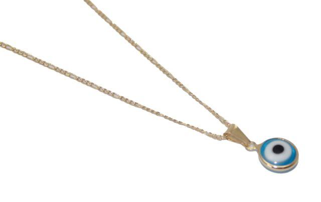 18K Gold Plated Muslim Arabic Turkish Evil Eye Pendant Sweater Chain Necklace
