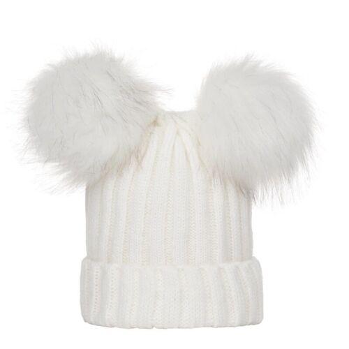 Bobble Beanie Cap Toddler Kids Baby Boy Girl Hat Winter Warm Crochet Knitted