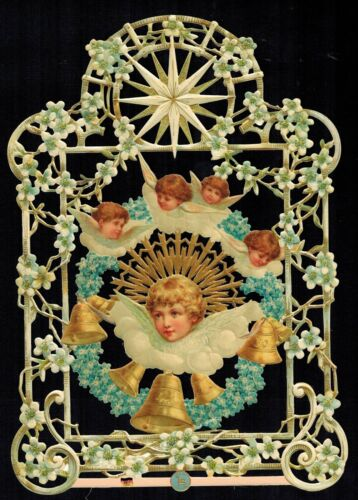 ANGELS BELLS FLORAL CUTWORK  DECOUPAGE COLLAGE ART ALTER  PAPER SCRAP EF GERMAN