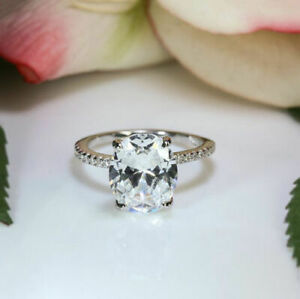 1.30 Ct Oval Cut Moissanite Engagement Ring 18K Solid White Gold ring Size 5 6