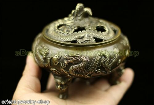 Antique Dragon Style Ancient Bronze Statue India Incense Burner