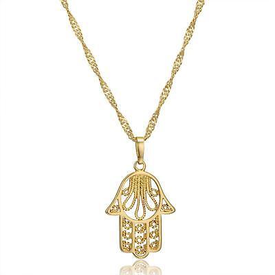 Hand Der Fatima Anhänger 750er Gold 18 Karat Vergoldet Gelbgold A2975-1 Halsketten & Anhänger Sonstige