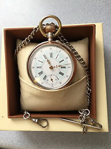 SILVER-ANTIQUE-800-POCKET-WATCH-CYLINDER-6-RUBIS-AND-SOLID-SILVER-925-CHAIN