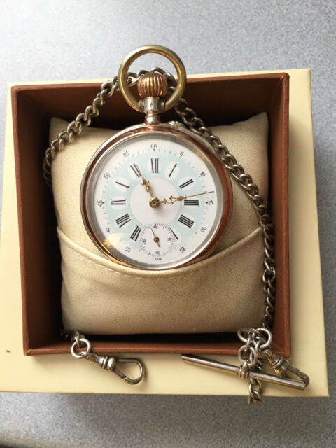 SILVER ANTIQUE 800 POCKET WATCH CYLINDER 6 RUBIS AND SOLID SILVER 925 CHAIN