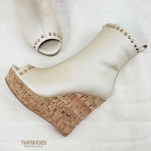 CR Mabelle Nude Upper Cork Wedge Open Toe High Heel Shoe