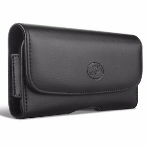 BLACK-LEATHER-PHONE-CASE-SIDE-COVER-POUCH-BELT-HOLSTER-CLIP-D071-For-SMARTPHONES