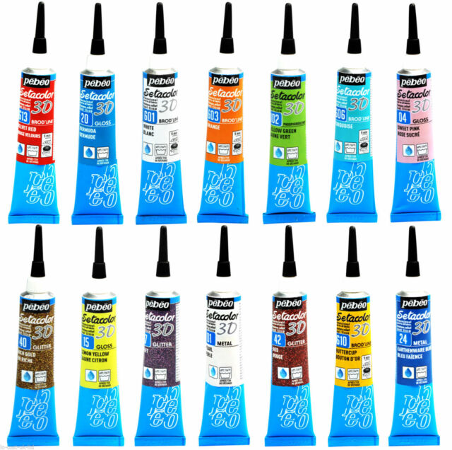 PEBEO Setacolor 3D Outliner Fabric Paint Tubes Glitter Brod'Line Glossy Metal