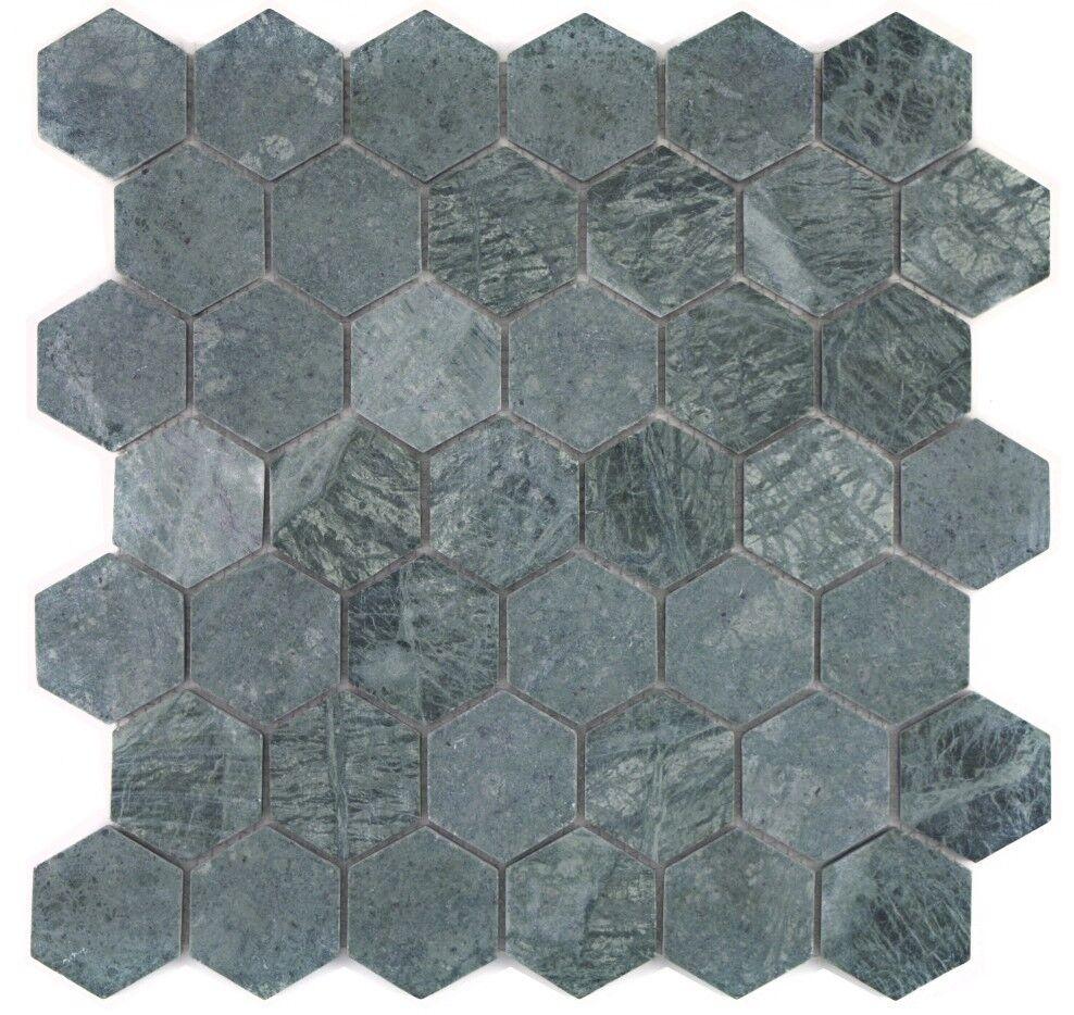 Marmormosaik grün Fliesenspiegel Küche Wand Boden WC Bad 44-0210   10 Matten