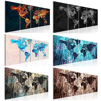 Leinwand bilder weltkarte bunt abstrakt wandbilder xxl for Kunstdruck wohnzimmer